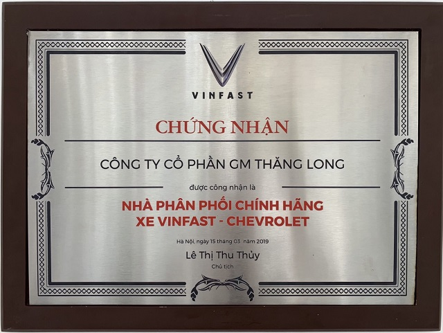 Chung nhan dai ly VinFast Chevrolet Thang Long - VinFast Chevrolet Thăng Long - 68 Trịnh Văn Bô