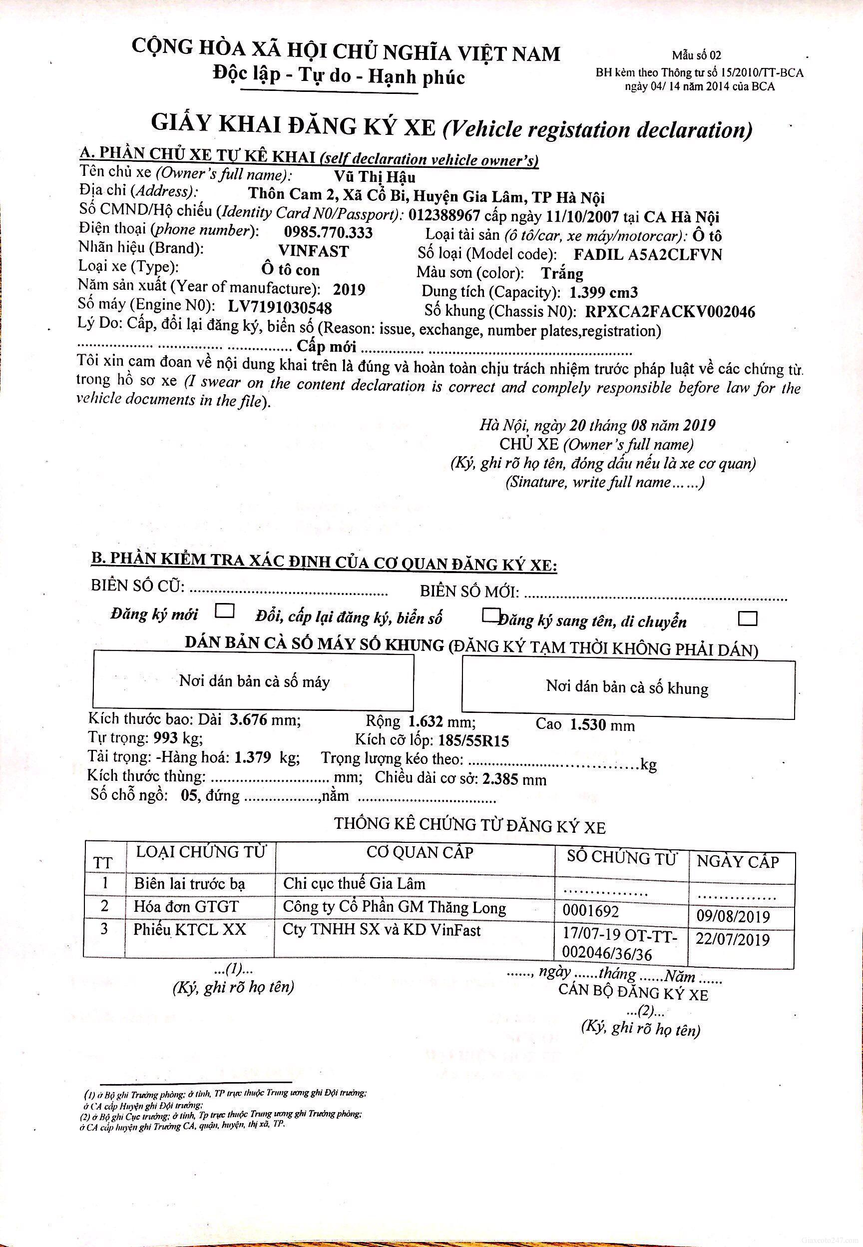 Huong dan khai To khai dang ky o to xe may 2019 - Cách ghi giấy khai đăng ký ô tô, xe máy