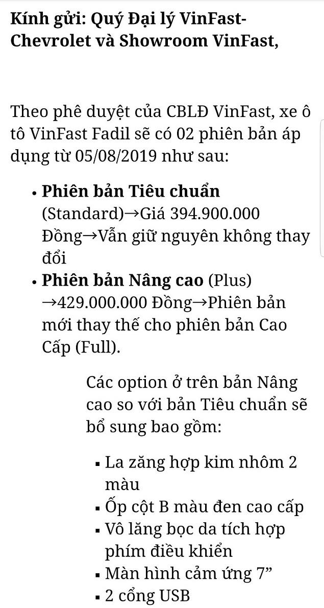 tu ngay 05 08 2019 xe Fadil se duoc san xuat 2 phien ban 1a - VinFast Fadil sẽ có 2 phiên bản kể từ ngày 05/08/2019, bản nâng cao giá 429 triệu đồng