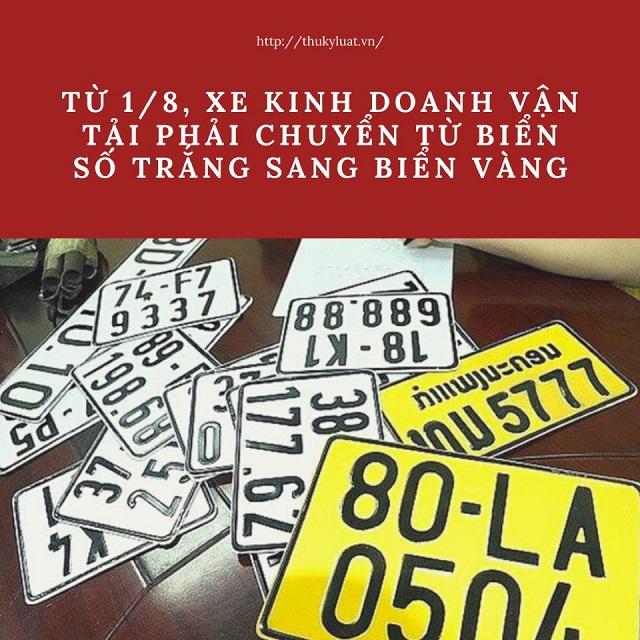 tu 1 8 2020 xe kinh doanh van tai phai chuyen bien vang - Từ 1/8: Cấp 2 biển cùng kích thước, đổi biển xe kinh doanh vận tải sang màu vàng