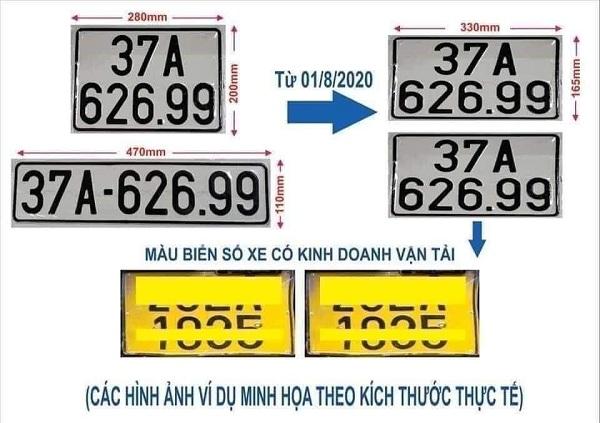 tu 1 8 cap doi bien so o to kieu moi - Từ 1/8: Cấp 2 biển cùng kích thước, đổi biển xe kinh doanh vận tải sang màu vàng
